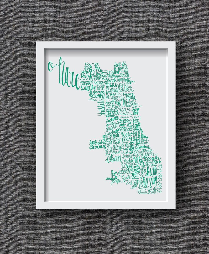 Hand Lettered Chicago Neighborhood Art Print Chicago Map Art - Chicago map etsy