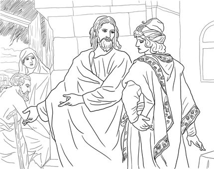 Jesus And The Rich Young Man Coloring Page Rich Young Ruler