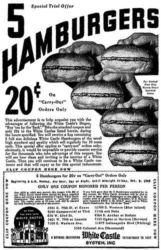 Vintage White Castle Newspaper Ad Louisville Ky 1940 S