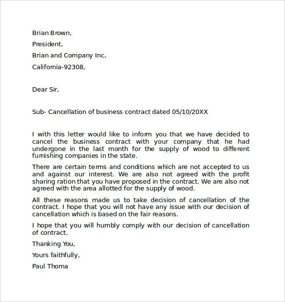 sample letter cancel meeting business terminating contract apology - business termination letter sample