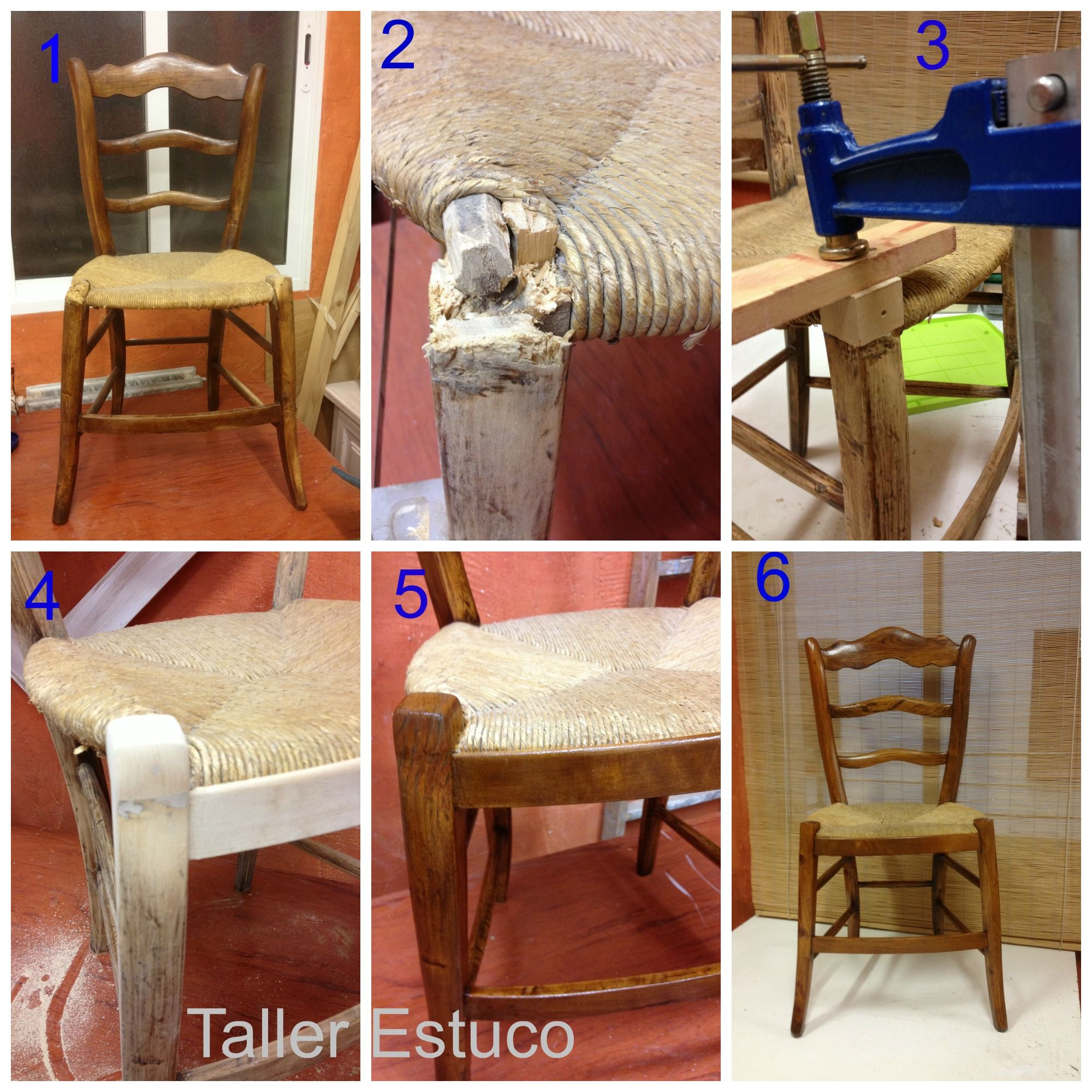 Restauraci n de una silla 1 2 la silla presenta la - Restauracion de sillas ...
