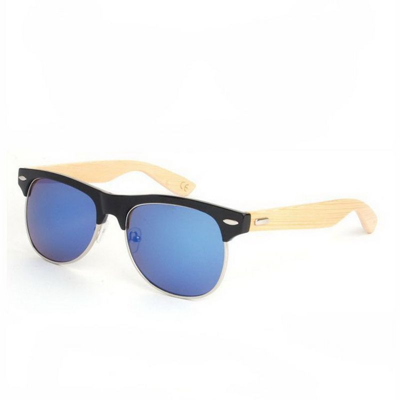 d3e1b29ae1 Handcrafted Wooden Sunglasses Semi-Rimless Black Frame Blue Lens Bamboo  Temple