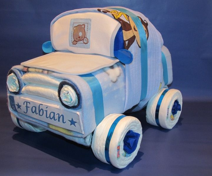 Süß ein Auto aus Windeln Windeltorte Windelauto blau oder rosa