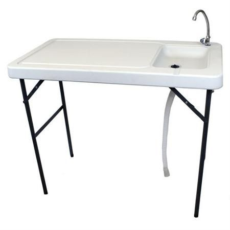 Palm Springs Outdoor Foldable Table W Sink For Food Preparation Walmart Com Fish Cleaning Table Plastic Tables Foldable Table