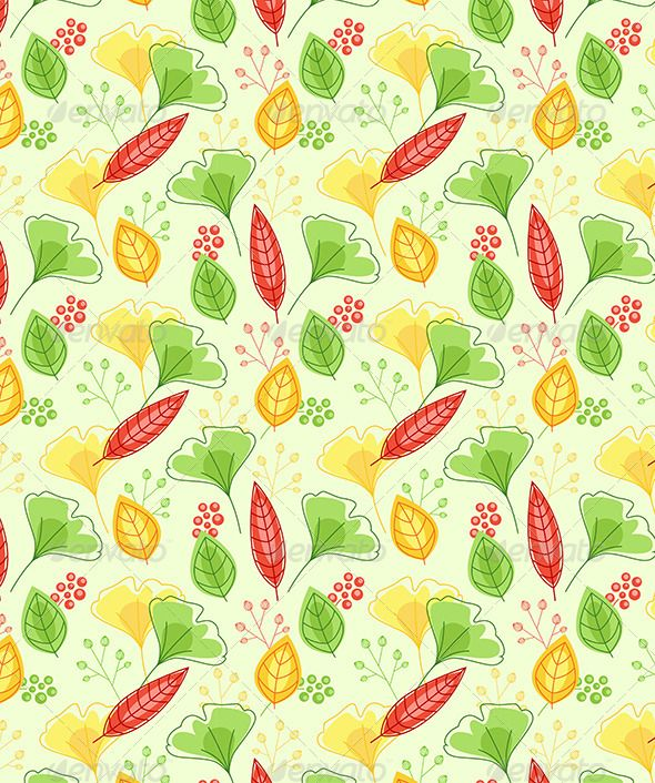 Seamless Pattern with Green and Yellow Leaves Template, Graphic - editable leaf template