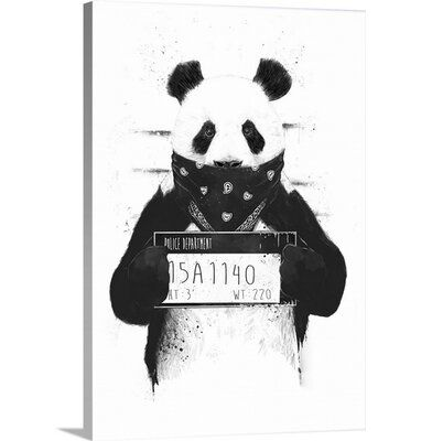 Great Big Canvas 'Bad Panda' Balazs Solti Print Format: Canvas, in Brown/White/Black, Size 48