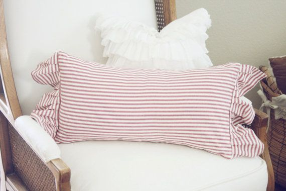 Vintage Ticking Stripe Red And White Pillow With By