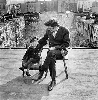 Phil Ochs and his daughter on Bleecker Street. 1966 Joan Baez