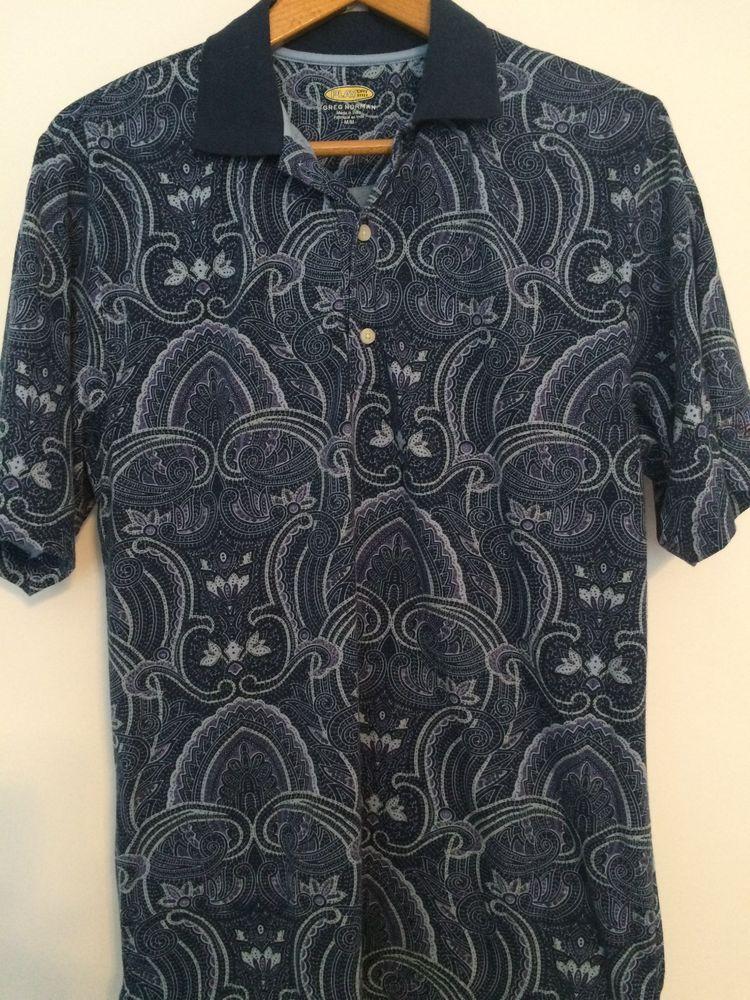 46279e97 Greg Norman PlayDry Play Dry Blue Paisley Golf Shirt Polo Size M Medium  #GregNorman #GolfShirt