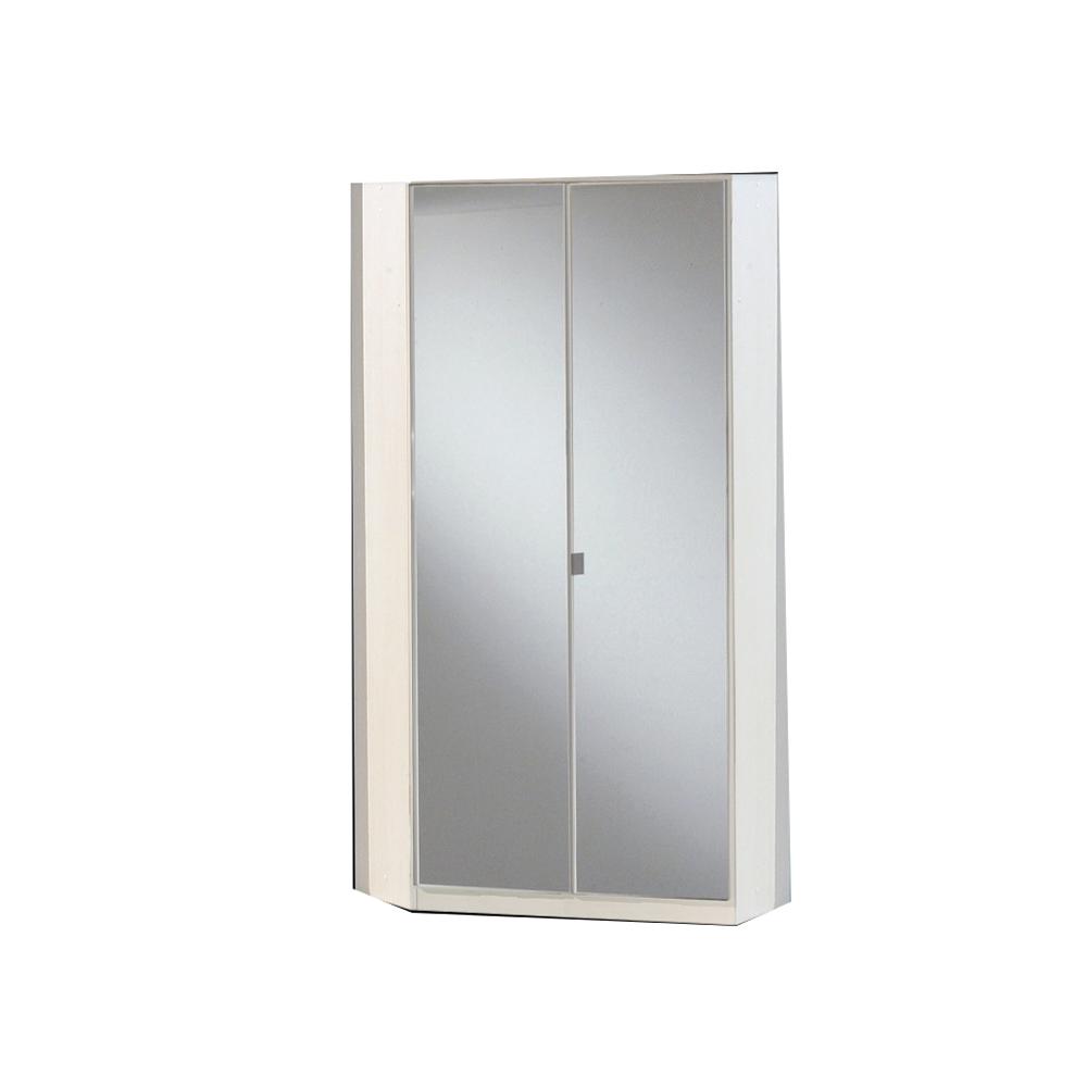 TJ's Furniture Gamma White & Black Gloss 2 Door Corner Mirrored Wardrobe
