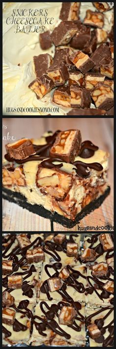 SNICKERS CHEESECAKE BARS ON AN OREO CRUST #snickerscheesecake