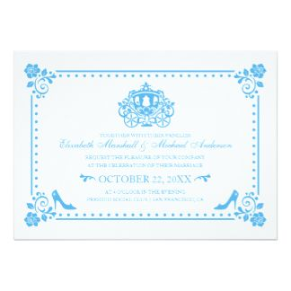 Cinderella Wedding   Carriage U0026 Flowers Invitation