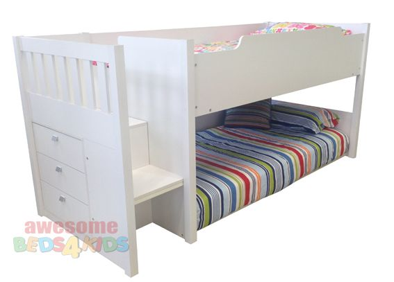 Mars Low Line Bunk In White Bottom Bed Can Be Converted To A Double