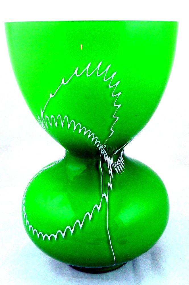 Vintage Scandinavian #Green Cased Art Glass Vase Unique Design  Great for St. Patrick's Day!!