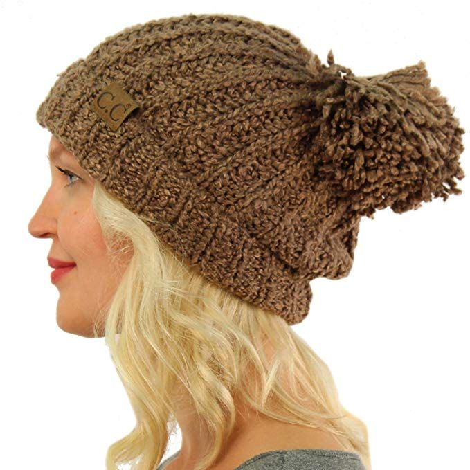 e6d581d1290 Winter CC Soft Chenille Pom Pom Warm Chunky Stretchy Knit Beanie Cap Hat  Burgundy at Amazon Women s Clothing store