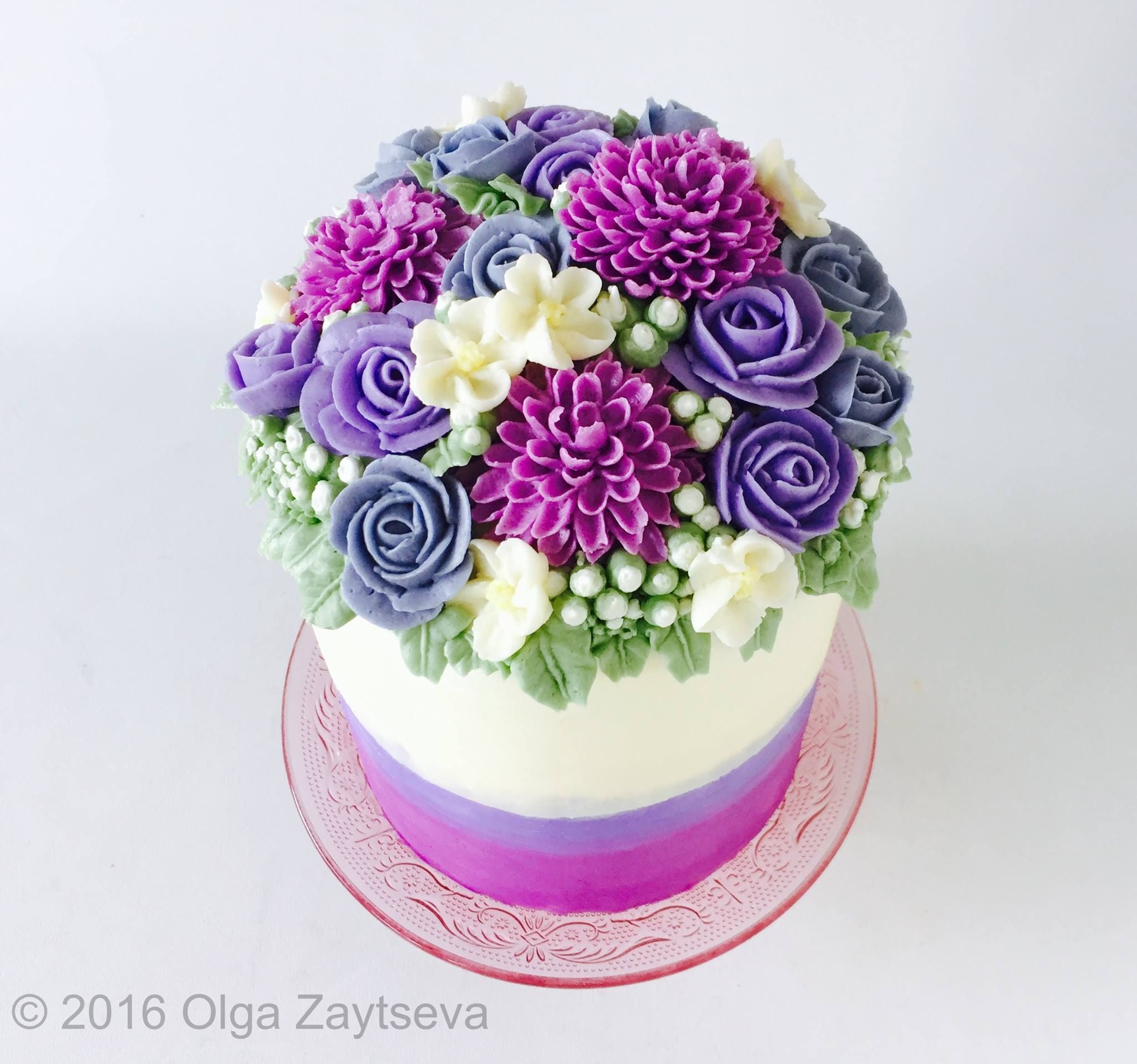 Buttercream Dahlia And Rose Flower Cake By Olga Zaytseva Buttercream Flower Cake Butter Cream Cake Tutorial