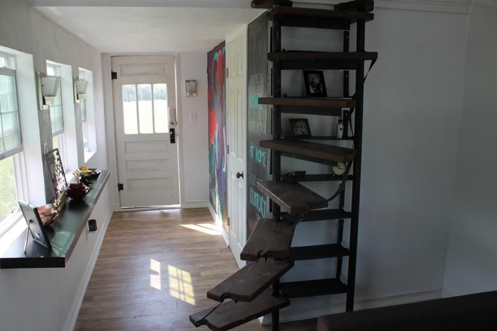 Kaitlin snyder 39 s custom spiral staircase and bookshelf is finished as seen on tiny house big - Small homes big space collection ...