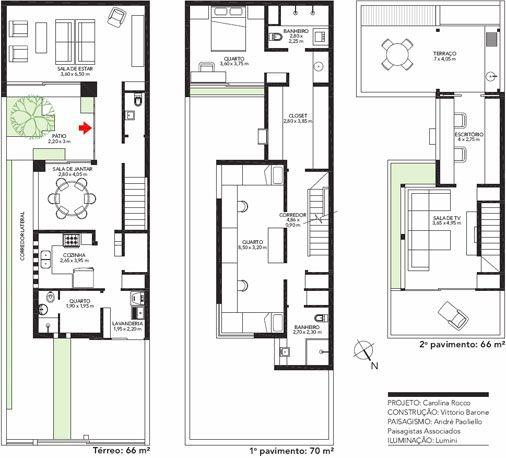 Mesmo em um terreno estreito esta casa tem claridade e for Plans d arkitek