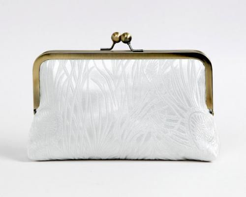 White Peacock Feather Bridal Silk Brocade and Silk Lined Clutch with chain