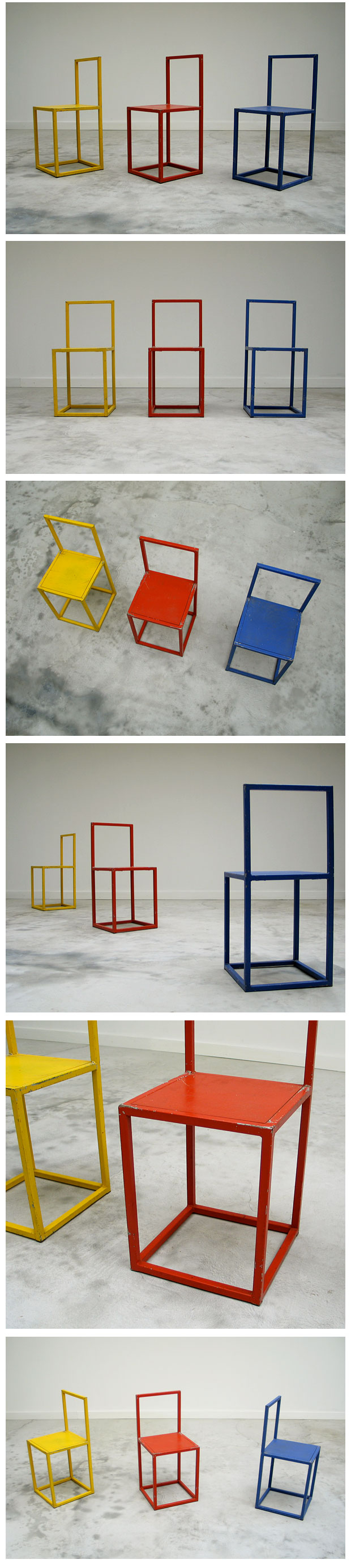 Uncategorized hand painted childrens table and chairs foter - 3 Cubistic Chairs Donald Judd