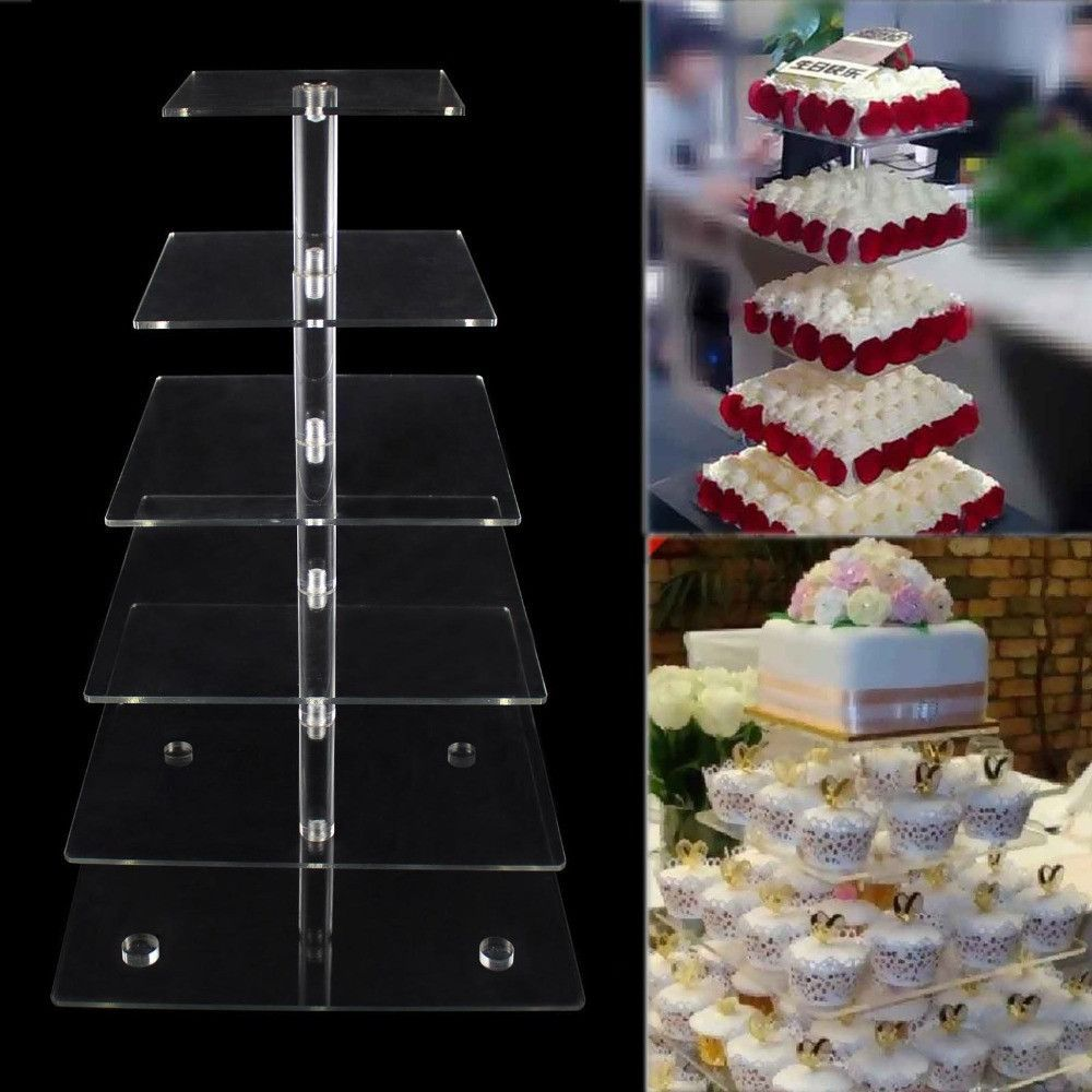 6 Tier Acrylic Square Cupcake Stand for party cake display