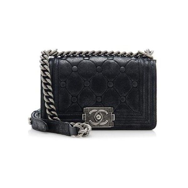 fec67ac82a3a Rental Chanel Iridescent Calfskin Chesterfield Padding Small Boy Bag ($315)  ❤ liked on Polyvore featuring bags, handbags, chanel, black, calfskin  leather ...