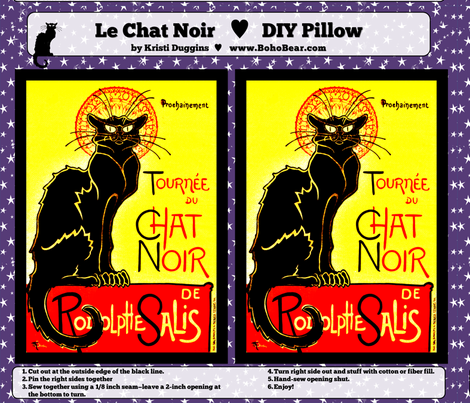 Colorful Fabrics Digitally Printed By Spoonflower Bright Le Chat Noir Cat Diy Pillow Project Diy Pillow Projects Le Chat Noir Diy Pillows