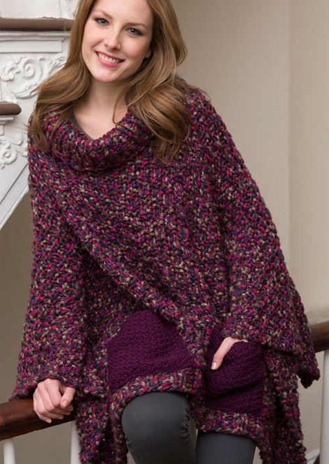 Free Knitting Pattern for Pocket Poncho | Free knit poncho ...
