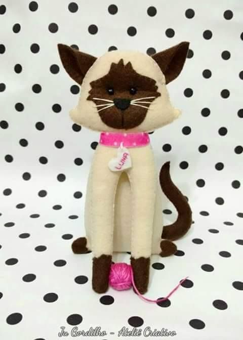 17 Modelos de Gato de Feltro [com Molde Grátis] | FELT | Pinterest ...