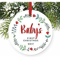 baby s first christmas ornament 2017 girl baby porcelain ceramic