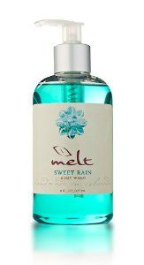 Sweet Rain Body Wash by Melt. $15.00. 8 oz. plastic bottle with easy to use pump.. Sweet Rain: Fresh and Clean scent. Contains caffeine, shea butter, vitamin E., and many botonical extracts.. ?Prepare for a Sweet Rain tsunami. A deluge of delicious fragrance that pours down on you...  Let's get soaking wet!  ?Drench your skin in a tidal wave of cleansing goodness. Now, clean skin is not necessarily dry skin! MELT Body Wash is brimming with vitamins and extracts to hydrate...