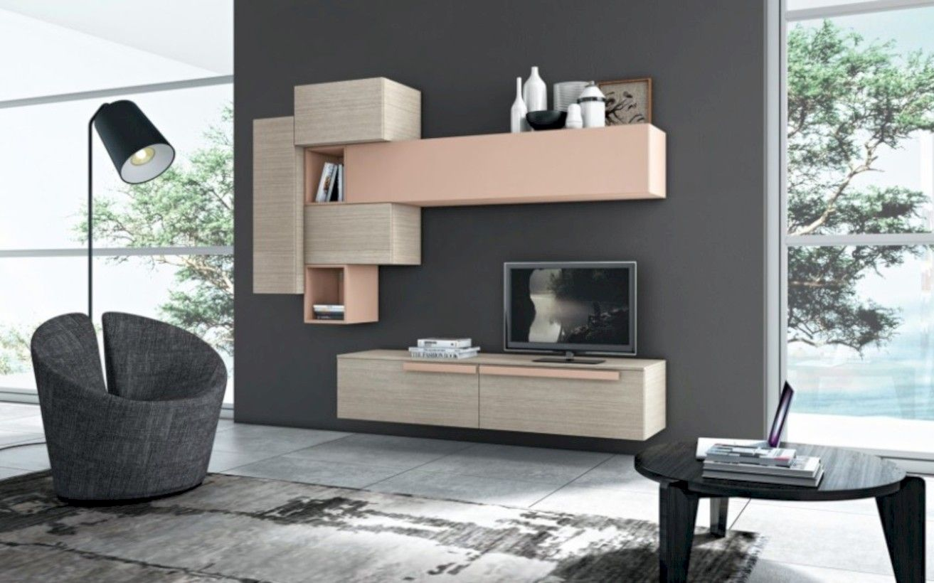 Furniture Modern Wall Units Design With Tv Cabinet Ideas Floor Lamp And Grey Rug Marble Round Table Interior