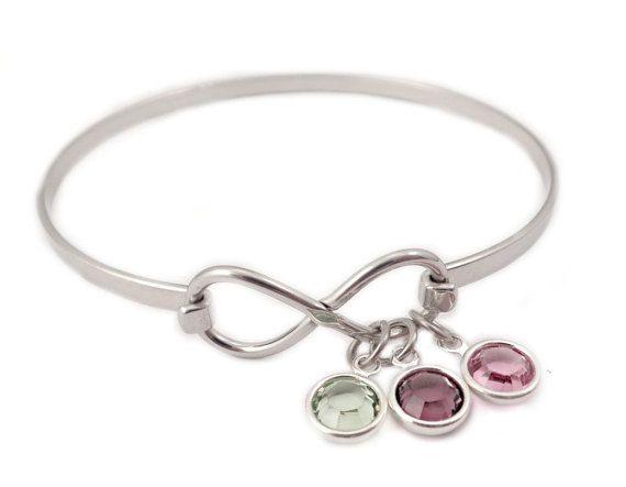 Personalized Infinity Birthstone Bangle Bracelet By Stampressions