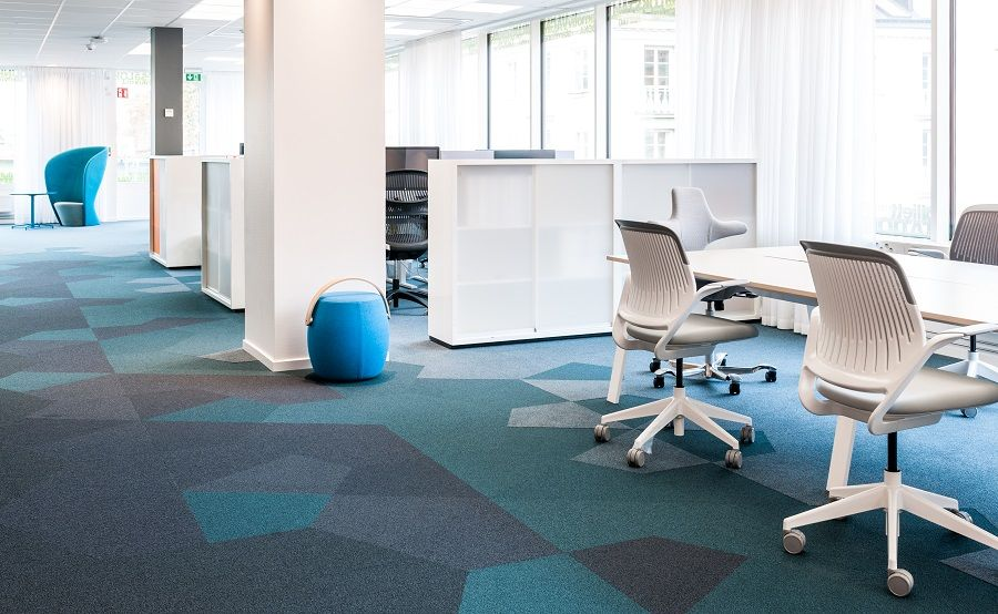 Geometry In The Office Turquise Grey Blue Carpet Featured