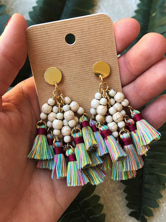 Multicolor Earrings Cluster Earrings Rainbow Earrings Dangle Earrings Minimalist Earrings Delicate Earrings Boho Earrings Handmade Earrings