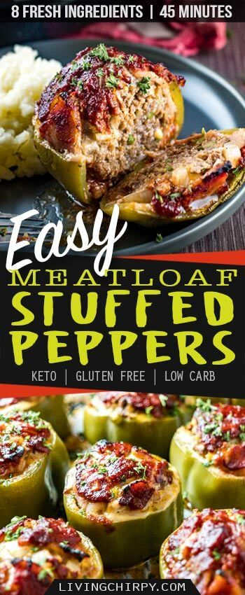 Easy Low Carb Keto Meatloaf Stuffed Pepper #bellpeppers