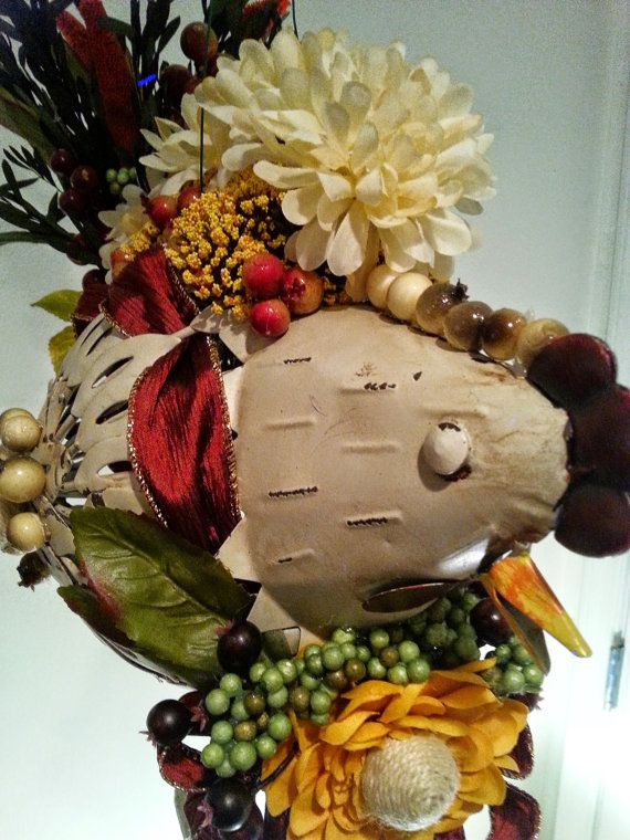 Funny Fall Floral Chicken Centerpiece by DramaticDecore on Etsy