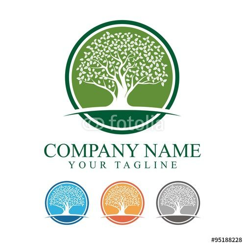 vector oak tree with circle logo design operation linden group rh pinterest com Oak Tree Logo Graphic oak tree logo design