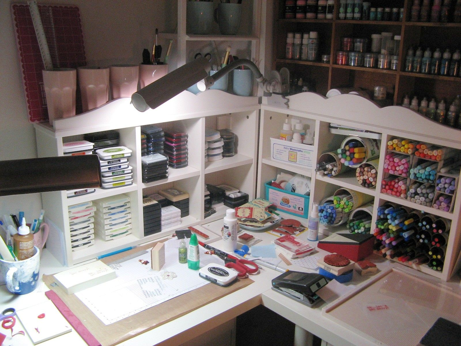 Messy Craft Table Messy Crafts Craft Desk Craft Room Storage