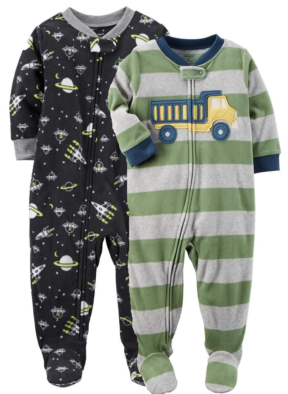 27a462458b0f Carters Baby Boys 2 Pack Fleece Pajamas Black Space Green Grey 12 ...