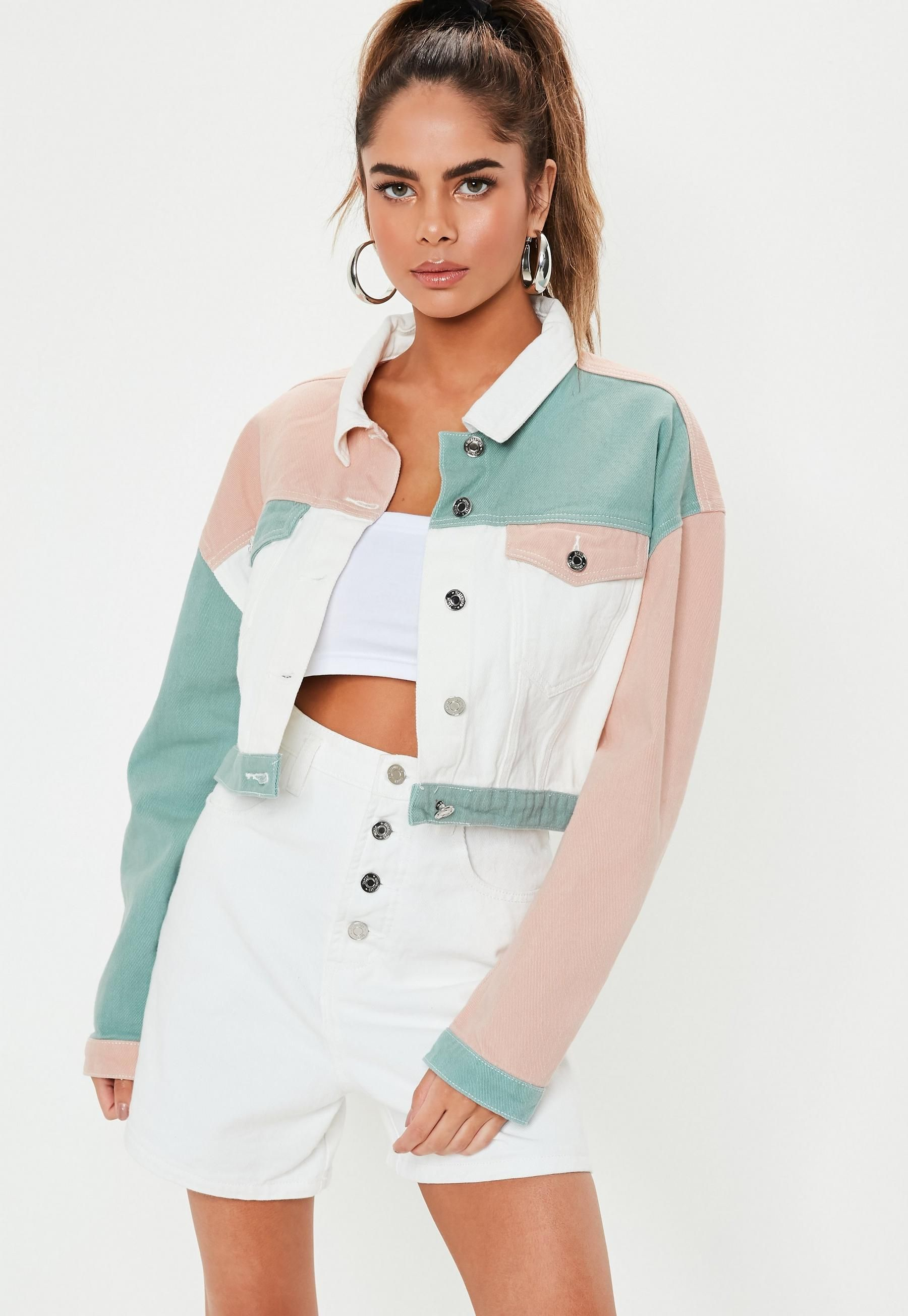 819d796d6 Missguided - Pink Multicoloured Patchwork Cropped Denim Jacket in ...