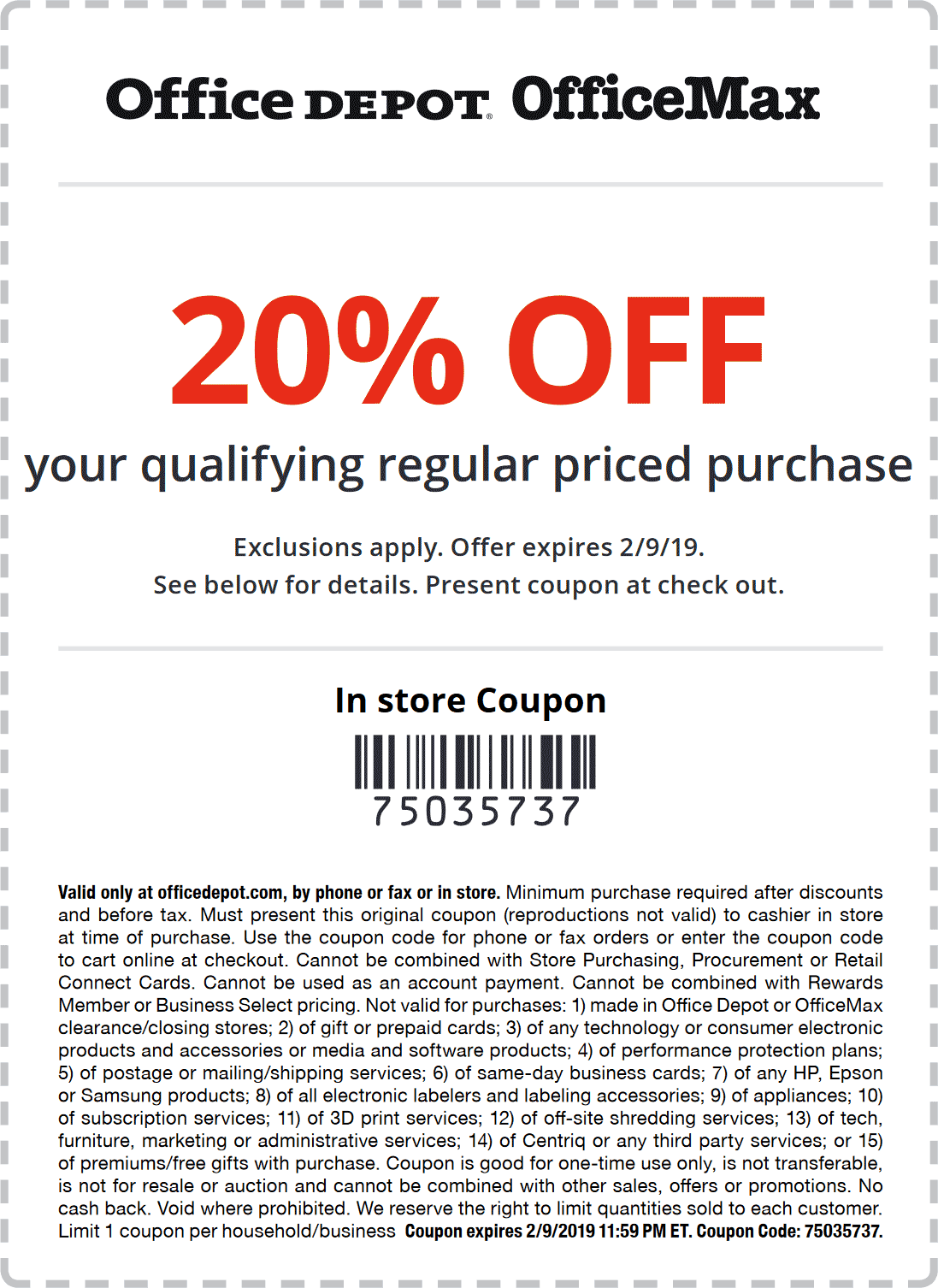 Pinned February 4th 20 Off At Officedepot Officemax Or Online Via Promo Code 75035737 Thecouponsapp Office Depot Store Coupons Coupons