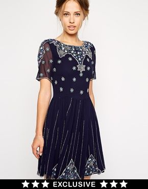 Frock and Frill Embellished Skater Dress