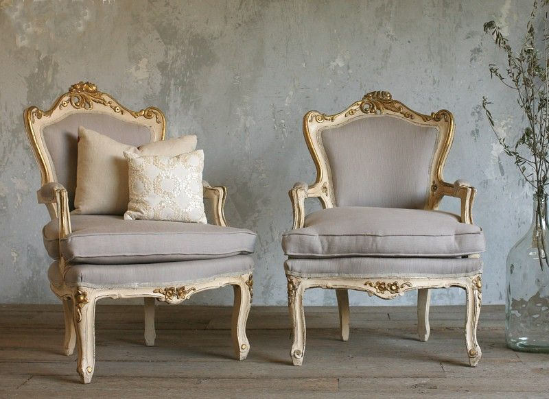 Vintage Shabby Cream Gilt Louis Xv French Style Armchairs Pair Bedroom