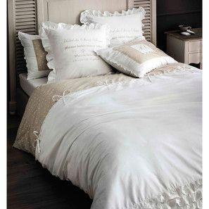Parure De Lit 220 X 240 Cm En Coton Blanche Sans Souci La Chambre