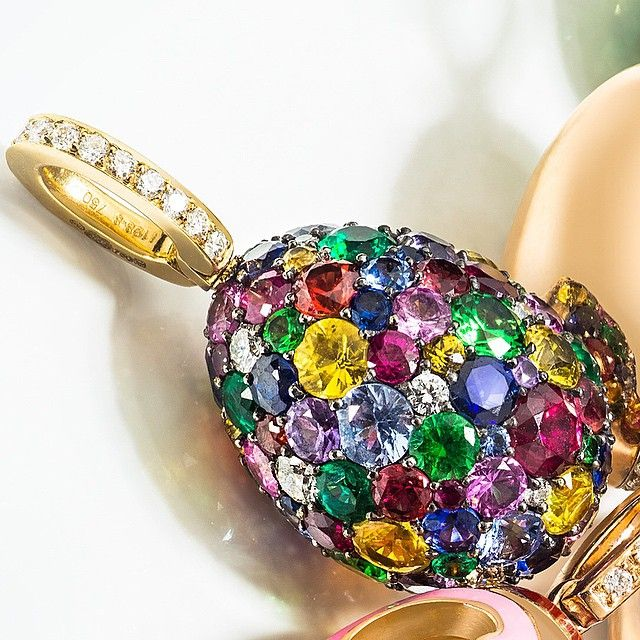 This summer, treat yourself to a glittering treasure like this multicoloured #FabergéEgg set with 144 gems including diamonds, emeralds, sapphires and rubies #musthave #perfectgift #gemstones #Fabergé