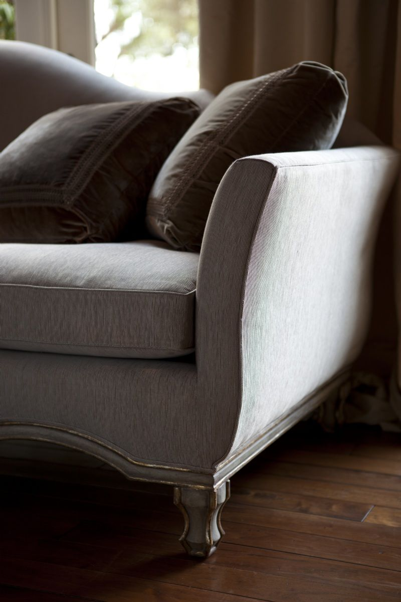 Borghese Sofa detail by Ebanista from Collection Ten - Weathered pearl finish with antiqued Borghese 22K detailing
