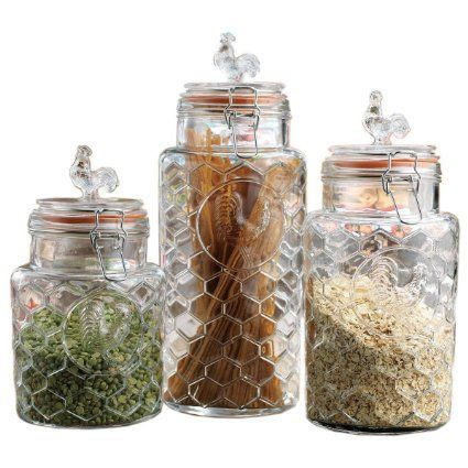 Set Of Three 3 Round Clear Glass Airtight Rooster Canisters With New Kitchen Jar Set Inspiration Design