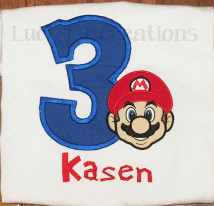 Mario Birthday Shirt super mario bros mario by Lucky4Creations