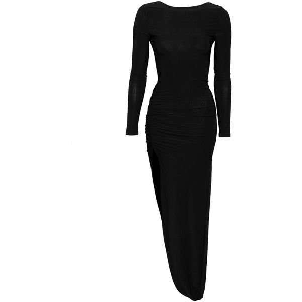 Club L Essentials Slinky L/S Gathered Dress ($46) ❤ liked on Polyvore featuring dresses, black, party dresses, womens-fashion, shirred dress, stretch dress, ruching dress, maxi dress and form fitting maxi dress